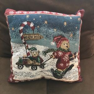 Other - 5/$25 Tapestry Christmas bear decorative pillow